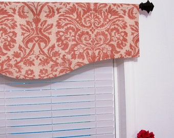 Contemporary Valance Salmon Beige Linen Shaped  Window Treatment Handmade in the USA