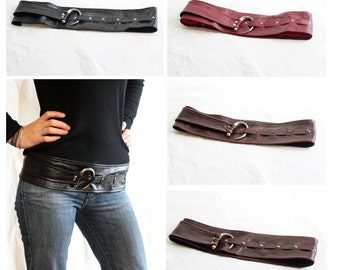 "SALE of the WEEK!!! Extra discount...Buy 2 @ Discount......convo for colours. Bohemian tribal Genuine leather 3-3.5"" wide belt"