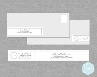 Monogram Wraparound Mailing Address Label [Printable | DIY | Digital File]