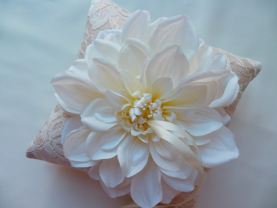 Ivory Silk Flower Bloom with Champagne Shantung Silk and Ivory Lace Ring Pillow Bearer