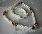 Mother Of Pearl Coral & Jade Beaded Necklace Vintage