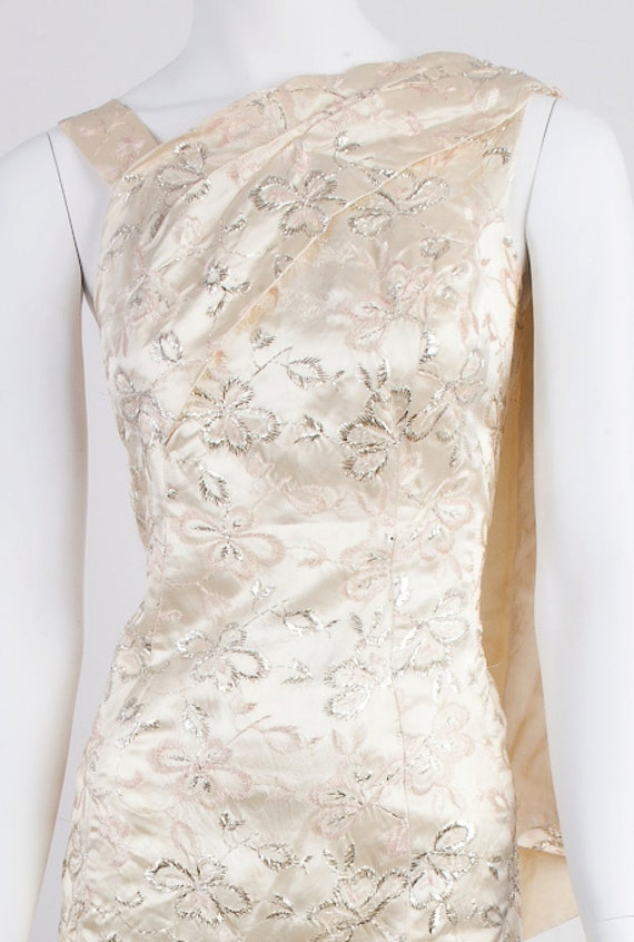 1960s Champagne, Silver, Silk Satin Cocktail Wiggle Dress with Lame Embroidery