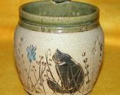 Cat in the grass coffee/tea mug, Handthrown,Highfired, Stoneware