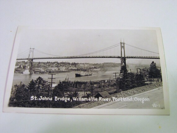 Vintage Postcard of St. Johns Bridge, Willamette River, Portland, Oregon - Real Photograph - 1931