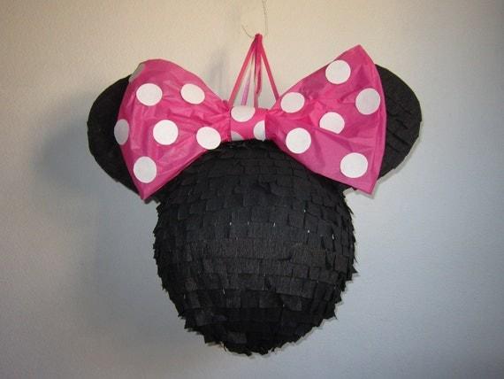 Plain Black Minnie Mouse Pinata with Pink Polkadot by PinataMama