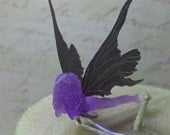 Nightshade Faerie - Purple with Black Wings Fairy Hair Pin MADE TO ORDER