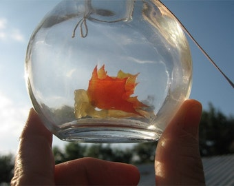 Fairy Bottle - Autumn Faerie with wings of Autumn Leaves MADE TO ORDER