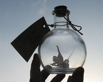 Fairy Bottle - Silvermist Faerie, Translucent with Black Wings MADE TO ORDER