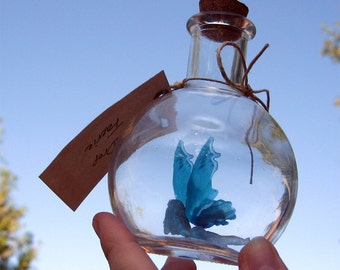 Fairy Bottle - Dewdrop Faerie, Light Blue with Blue Water wings MADE TO ORDER