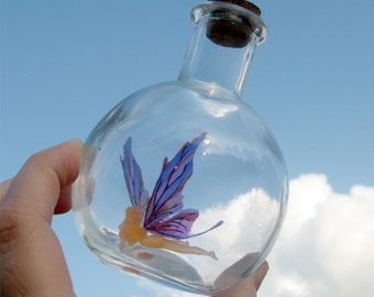 Fairy Bottle - Toadstool Faerie, Light Orange with Purple Wings MADE TO ORDER
