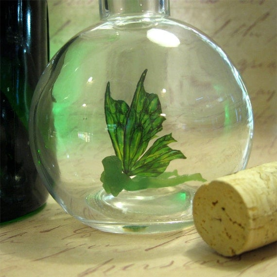 The Green Fairy - Absinthe Faerie bottle  MADE TO ORDER
