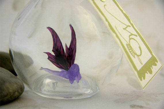 Fairy in a Bottle - Lingering Lotus Faerie, Lavender with Purple Wings MADE TO ORDER