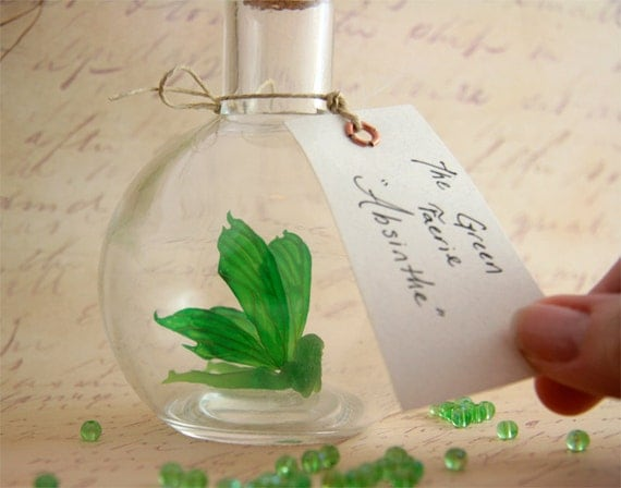 Faerie bottle - Absinthe, The Green Fairy MADE TO ORDER