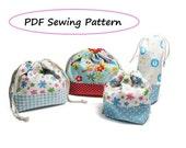 Drawstring Lunch Bag PDF Pattern - Variety set -(Downloadable)