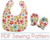 PDF Sewing Pattern - Baby Bib & Mittens- (Downloadable)