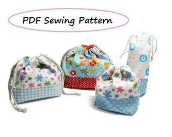 Drawstring Lunch Bag PDF Pattern - Variety set -(Downloadable)