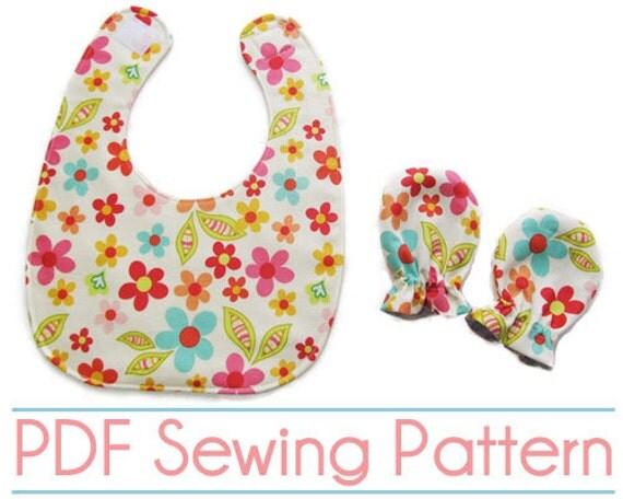 PDF Sewing Pattern - Baby Bib & Mittens