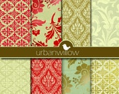 DAMASK - Be Merry - Digital paper pack