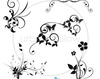 FLOURISHES - 12 x Designer Digital Clip Art Flourishes. Png & Jpeg files.