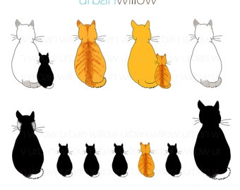 INSTANT DOWNLOAD - CATS clip art collection. For small commercial and personal use.