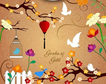 INSTANT DOWNLOAD - Garden of Gold - 17 piece digital clip art and paper set. Jpeg & Png files.