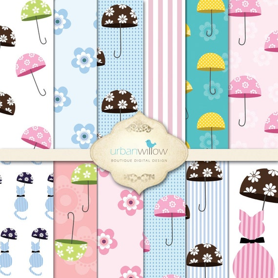 INSTANT DOWNLOAD - BROLLY digital paper pack for commercial and personal use.
