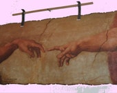 Reproduction of The Creation of Adam, by Michaelangelo Buonarroti - Solid Parchment Paper Wall Art - 70's Vintage, TREASURY ITEM