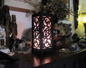 """13"""" Tall Asian Oriental Old Designed Cutouts Black Wood Carving Atmosphere Table Lamp"""