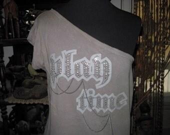Unique DIagonal Neckline StoneWashed Ornamented Bohemian Top,  Vintage