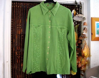 Beautiful Green Embroidered, Sequined and Slightly Tie-Dyed Cotton Shirt, Large - TREASURY ITEM