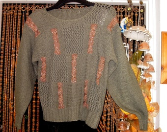 Golden Olive Green Home-knitted Fenestrated Sweater, Medium to Large