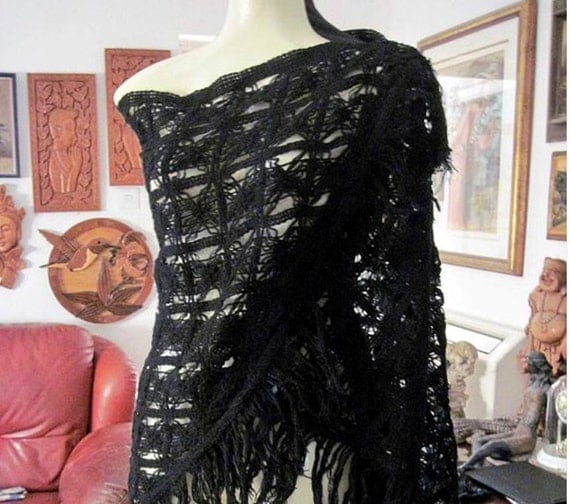 Fringe Black Triangle Hand-Crocheted Shawl, Vintage