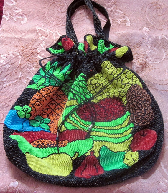 70's Indonesian Iridescent Heavily Beaded Fruits Motifs Large bag / Tote