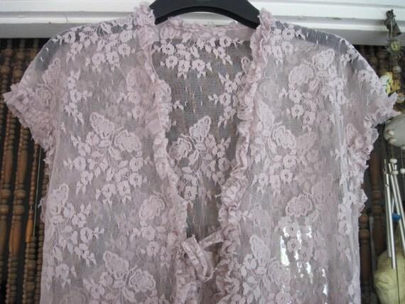 80's Dusty Rose Floral Lace Vest, Large