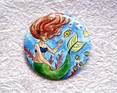 "Little Mermaid - 2.25"" Art Illustration Round Pocket Mirror"