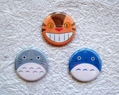 "Totoro and Cat Bus - 1.25"" Anime Pin-back buttons or Magnets Set of 3 Designs"