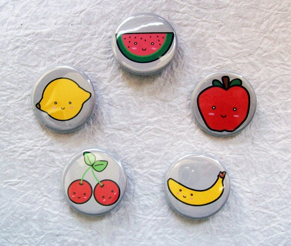 """Cute Foods Fruit Edition Set of 5 Kawaii 1.25"""" Pin-back Button or Magnet set"""