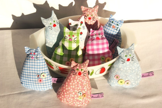 Smelly Cat ,Blue Gingham 2 pink buttons