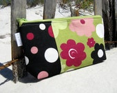 Canvas Zipper Pouch in Buttercup Floral - Cosmetic Case - Pencil Case - Eyeglass Case