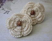 Large Cream/Ivory/Beige Crocheted Ponytail/Rubberband  Ready to Ship