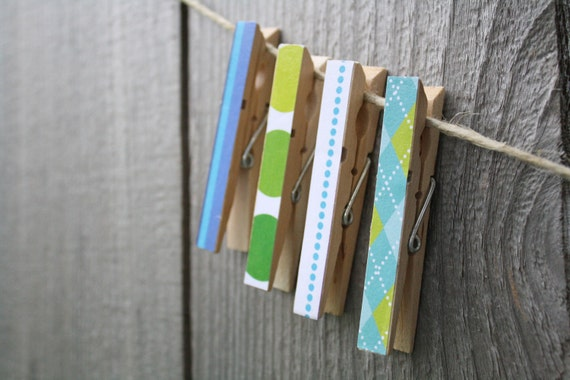 Take 50% Off Set of 4 Clothespins, Assortment of Blue-Hue