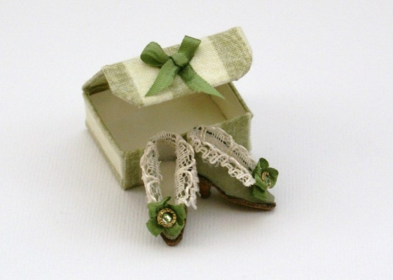 Miniature shoes -  Eighteenth century style - olive green and lace