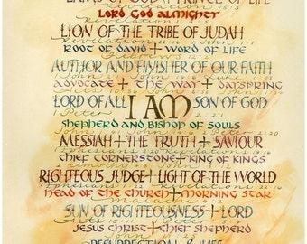 Golden Names of God 5 x 7 card