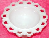Vintage Lacy Milk Glass Footed Bowl