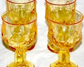 Vintage Franciscan Crystal Glassware - Goblet Footed Stemware Lovey Citrus Yellow