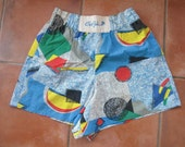 Vintage 80's Elastic Waist Shorts Geometric Shapes by C'est Joli