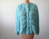 Vintage 70s Sweater Minty Green Cardigan