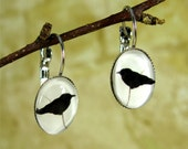Raven Crow Earrings - Crow Silhouette Gothic Jewelry, Leverback Earring