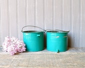 Set of 2 vintage tin pails