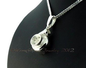 Sterling Silver Turbocharger Pendant c/w Chain